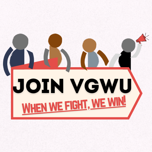 Join VGWU When We Fight We Win! Go to https://forms.gle/zbpWskLHosmKwQXP7 to join!